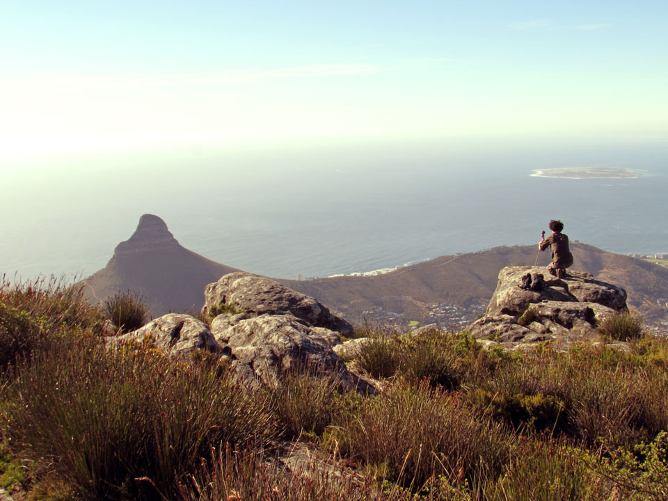 Setting up our 360-degree camera at Table Mountain, Cape Town, South Africa