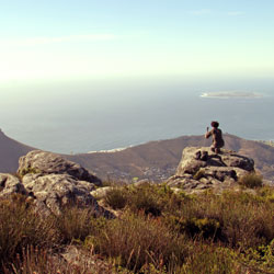 Setting up our 360-degree camera after a long climb at Table Mountain, Cape Town, South Africa