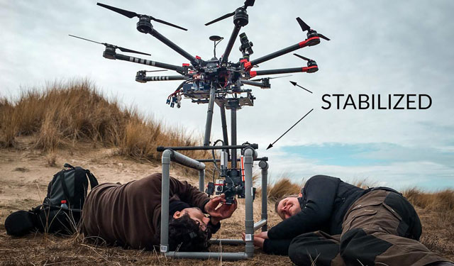 360° luchtopnames maken vanaf onze drone met onze op maat gemaakte stabilized rig
