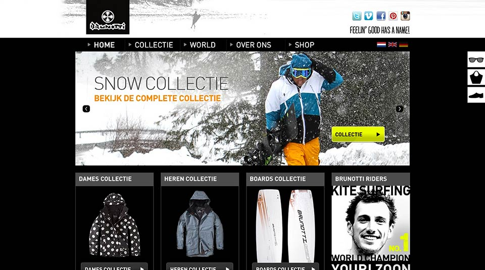 Brunotti wintershoot collection on website